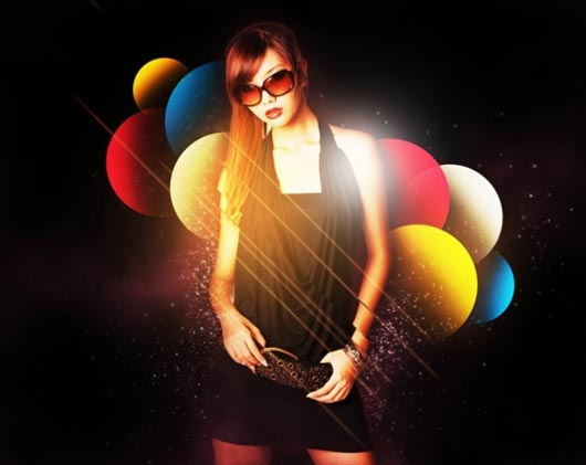 How to stylise model shoot using colourful shapes in Photoshop