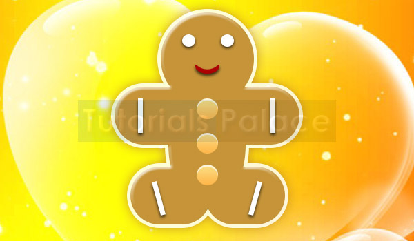 Christmas Gingerbread with Yellow Heart Background